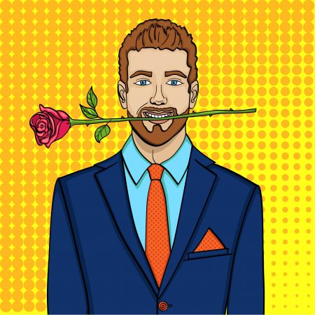 Pop art man, businessman with a rose in his teeth. Imitation comic style, raster illustration